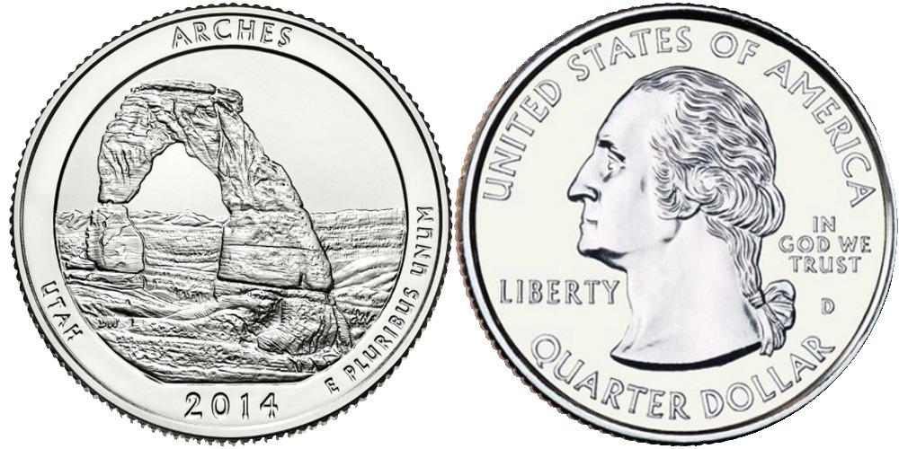 25 центов 2014 D США — Национальный парк Арки (Юта) UNC