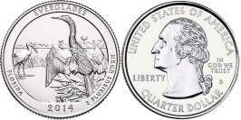 25 центов 2014 D США — Национальный парк Эверглейдс (Флорида)