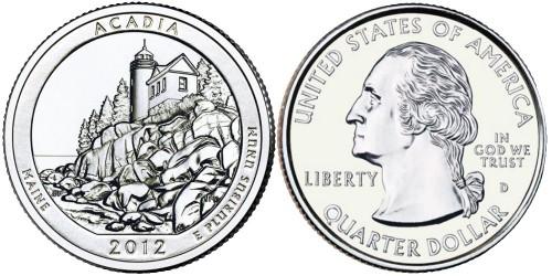 25 центов 2012 D США — Национальный парк Акадия (Мэн) UNC