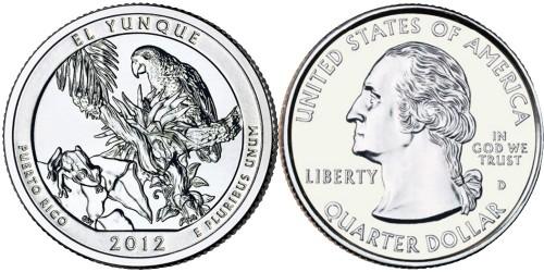 25 центов 2012 D США — Национальный лес Эль-Юнке (Пуэрто — Рико) UNC