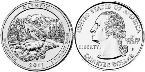 25 центов 2011 P США — Национальный парк Олимпик (Вашингтон)