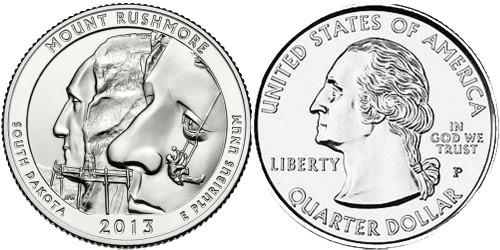 25 центов 2013 P США — Национальный мемориал Маунт — Рашмор (Южная Дакота)