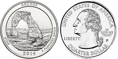 25 центов 2014 P США — Национальный парк Арки (Юта)