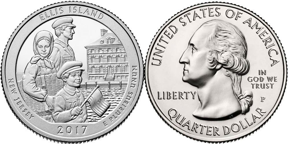 25 центов 2017 P США — Национальный монумент острова Эллис Нью-Джерси — Ellis Island