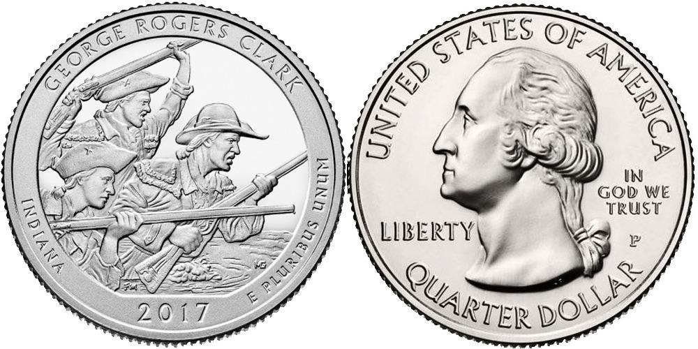 25 центов 2017 P США-Национальный исторический парк имени Джорджа Роджерса Кларка Индиана-George R C