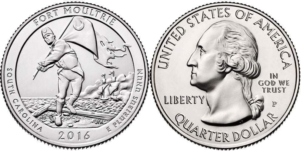 25 центов 2016 P США — Форт Молтри Южная Каролина — Fort Moultrie South Carolina