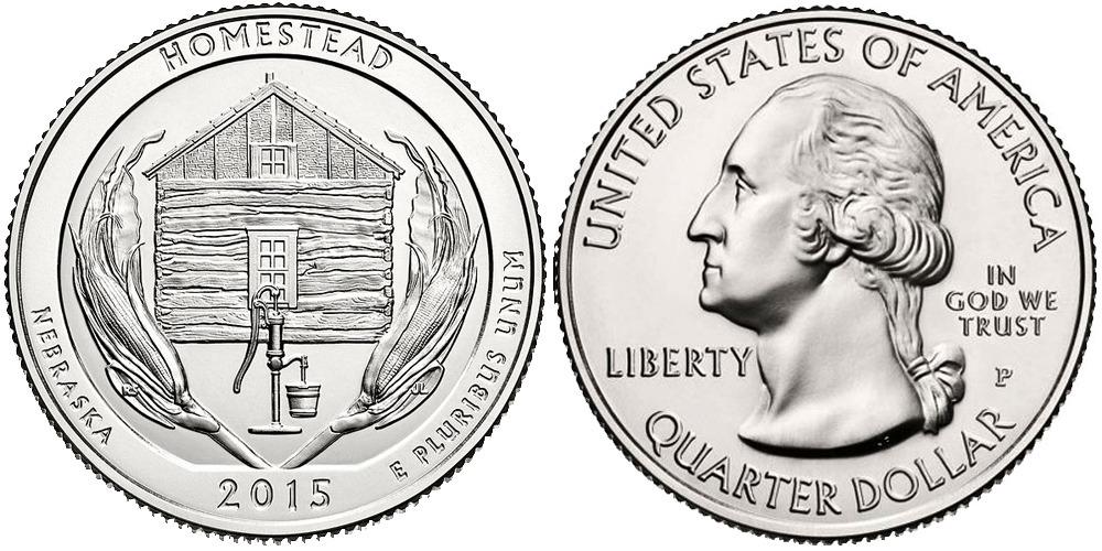 25 центов 2015 P США — Национальный монумент Гомстед Небраска — Homestead Nebraska UNC