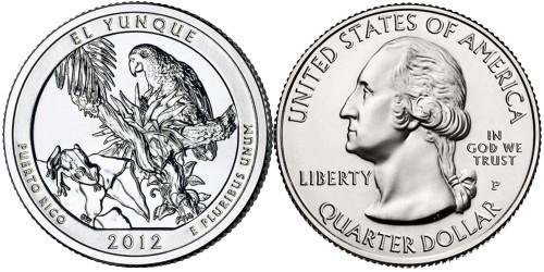 25 центов 2012 P США — Национальный лес Эль-Юнке (Пуэрто-Рико)