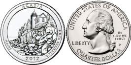 25 центов 2012 P США — Национальный парк Акадия (Мэн)