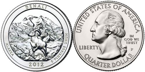25 центов 2012 P США — Национальный парк Денали (Аляска) UNC