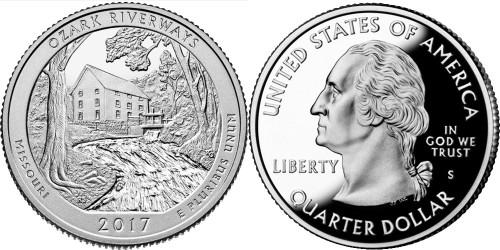 25 центов 2017 S США — Национальные водные пути Озарк (Миссури) UNC