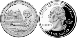 25 центов 2017 S США-Национальное историческое место Фредерика Дугласа Округ Колумбия-FrederickD UNC