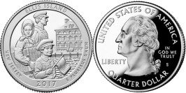 25 центов 2017 S США — Национальный монумент острова Эллис Нью-Джерси — Ellis New Jersey UNC