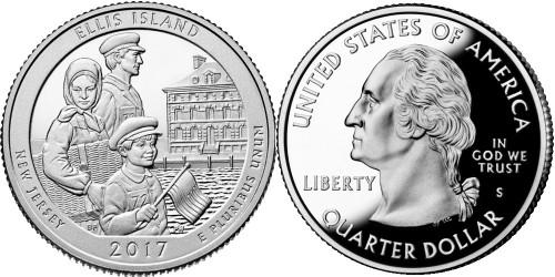 25 центов 2017 S США — Национальный монумент острова Эллис (Нью — Джерси) UNC