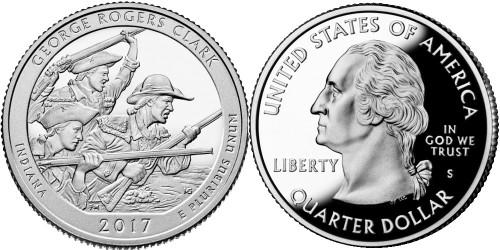 25 центов 2017 S США — Национальный исторический парк имени Джорджа Роджерса Кларка (Индиана) UNC