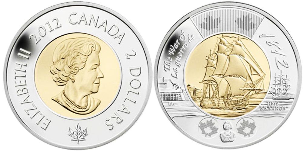 2 доллара 2012 Канада — Война 1812 года — Фрегат «Шеннон»