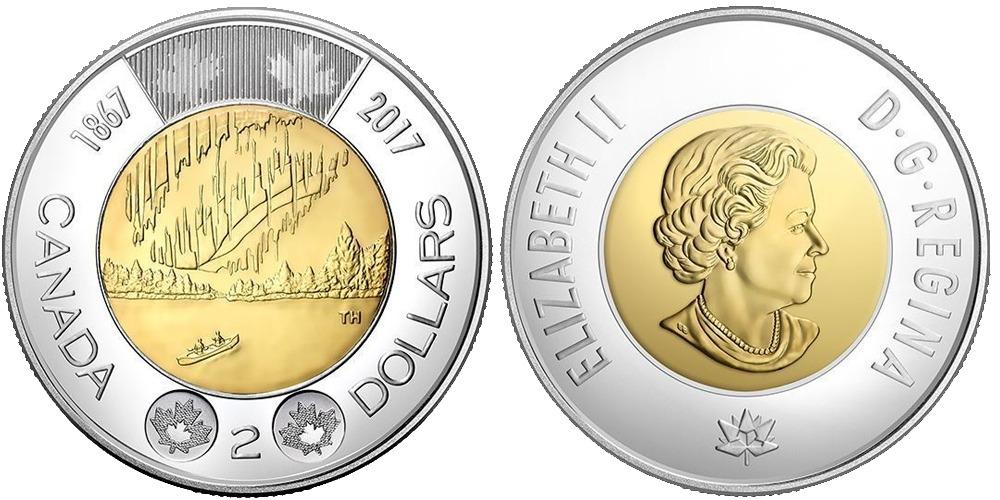 2 доллара 2017 Канада  — 150 лет Конфедерации Канада — Полярное сияние