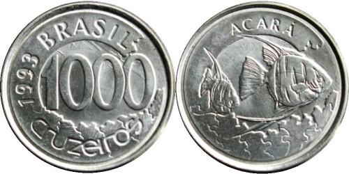1000 крузейро 1993 Бразилия — Рыба Акара UNC