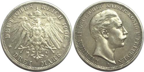 3 марки 1908 «А» Германская империя — Пруссия — серебро