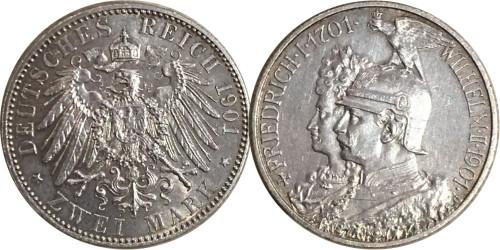 2 марки 1901 «А» Германская империя — Пруссия — серебро