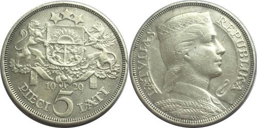 5 латов 1929 Латвия — серебро