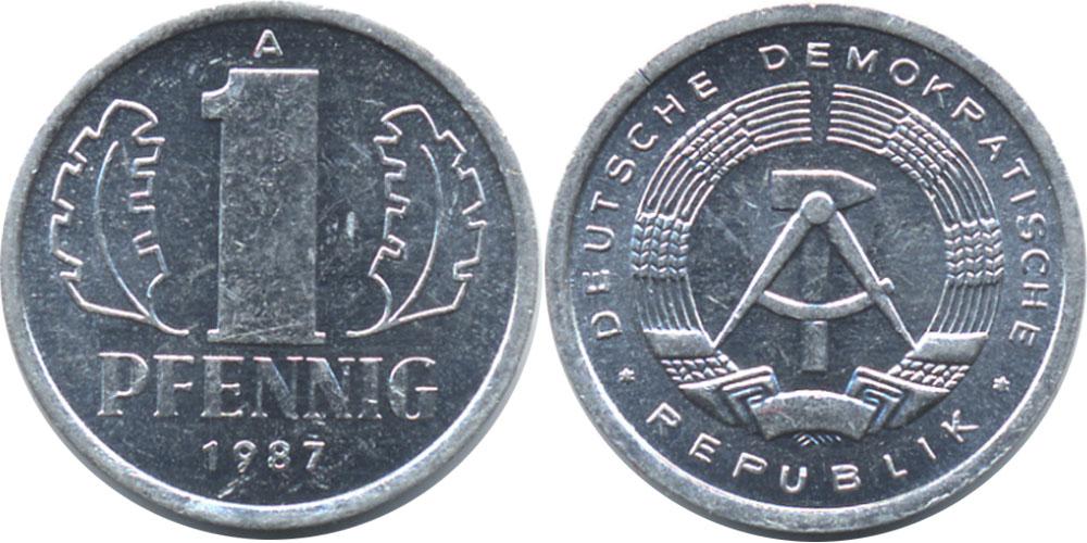 1 пфенниг 1987 «A» ГДР