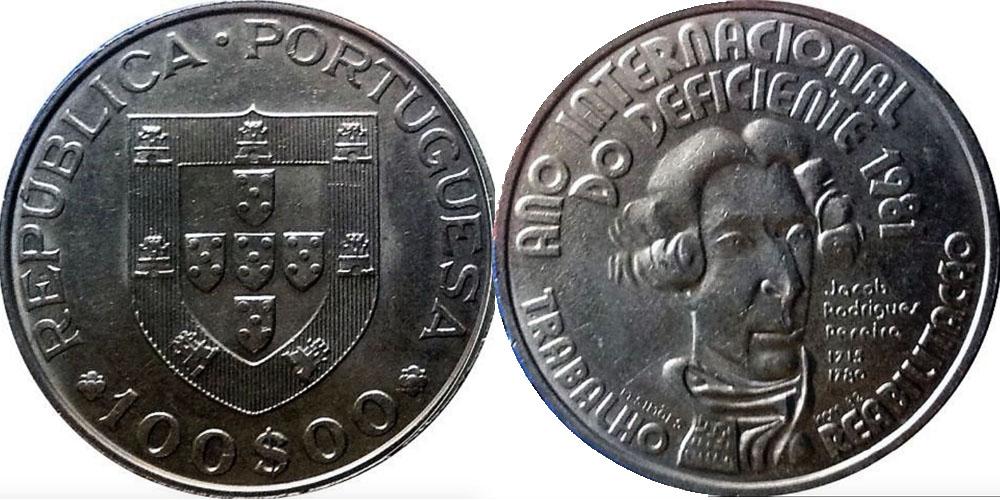 100 эскудо 1981 Португалия — Международный год инвалидов — Жако Перейра