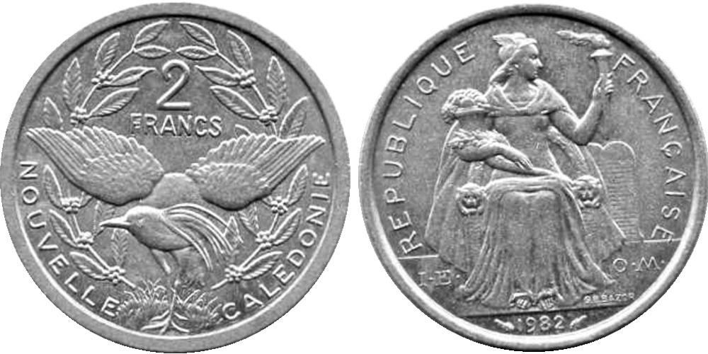 2 франка 1982 Новая Каледония