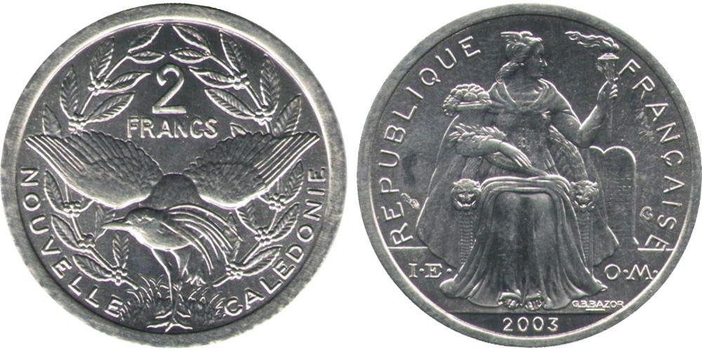2 франка 2003 Новая Каледония