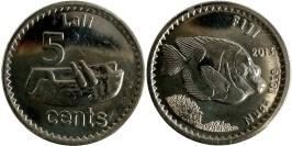 5 центов 2013 Фиджи UNC — Рыба кролик