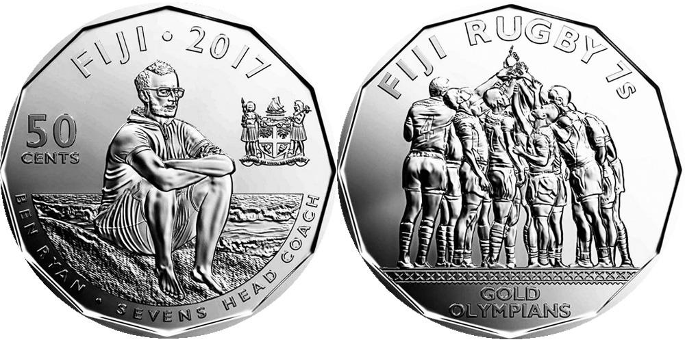 50 центов 2017 Фиджи UNC — Команда Фиджи по регби 7 чемпионы Олимпиады 2016