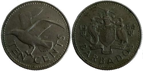 10 центов 1984 Барбадос