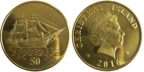 50 центов 2016 острова Рождества — Парусник UNC