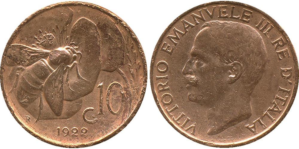 10 чентезимо 1922 Италия