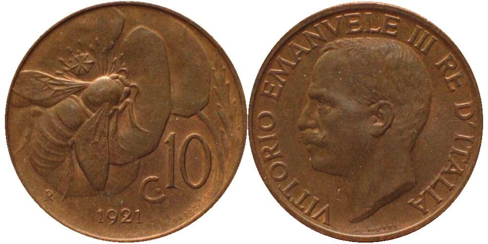10 чентезимо 1921 Италия