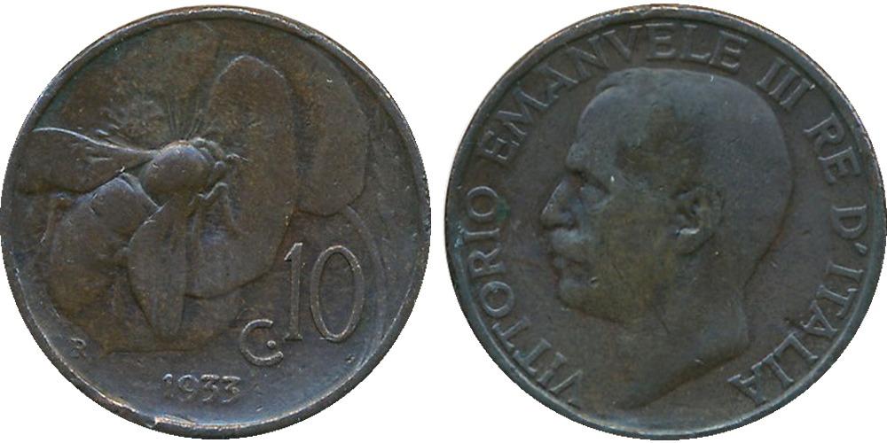 10 чентезимо 1933 Италия