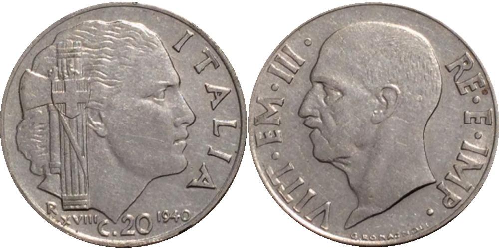 20 чентезимо 1940 Италия — магнитная — ребристий гурт