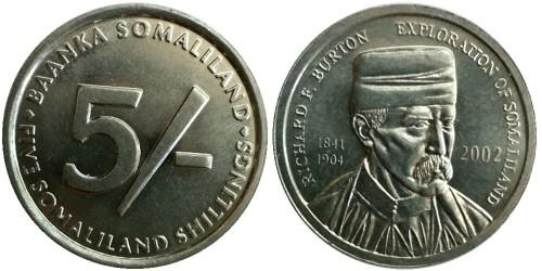 5 шиллингов 2002 Сомалиленд — Ричард Френсис Бёртон