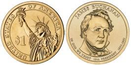 1 доллар 2010 Р США UNC — Президент США — Джеймс Бьюкенен (1857-1861) №15