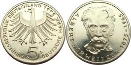 5 марок 1975 ФРГ — 100 лет со дня рождения Альберта Швейцера — серебро
