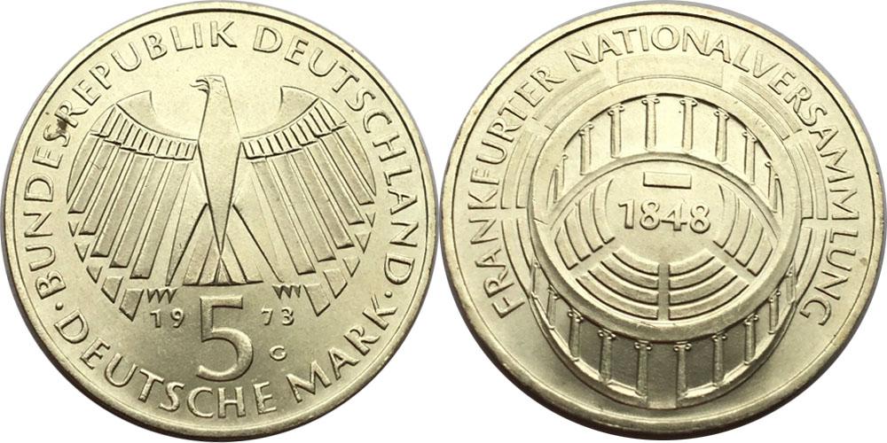5 марок 1973 «G» ФРГ — 125 лет со дня открытия Национального Собрания — серебро