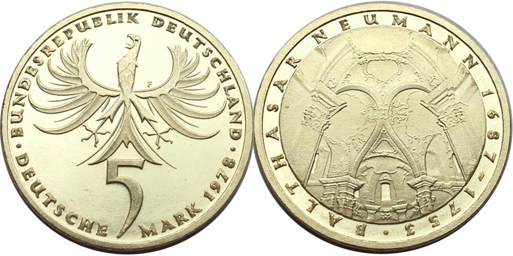5 марок 1978 «F» ФРГ — 225 лет со дня смерти Иоганна Бальтазара Неймана — серебро