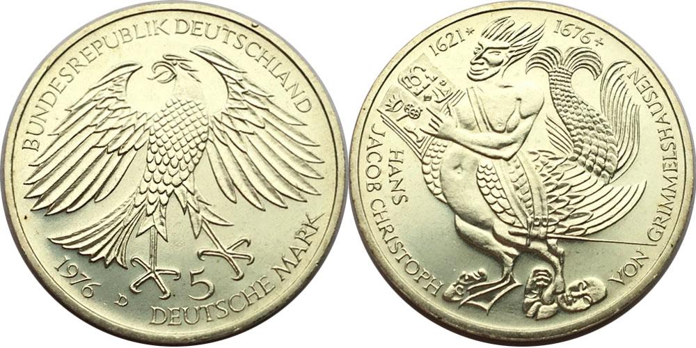 5 марок 1976 «D» ФРГ — 300 лет со дня смерти Ганса Якоба Кристоффеля фон Гриммельсгаузена — серебро
