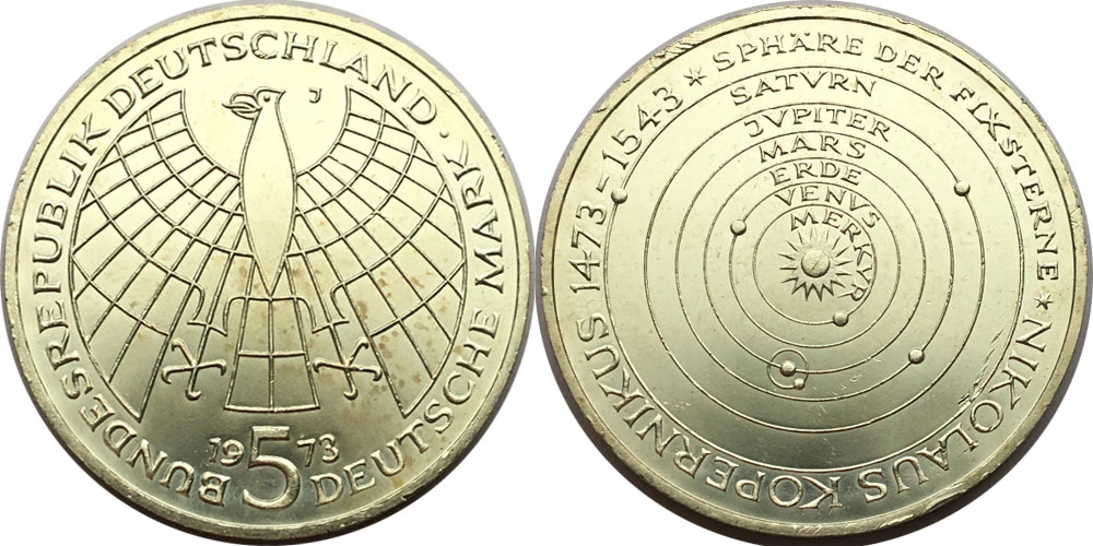 5 марок 1973 «J» ФРГ — 500 лет со дня рождения Николая Коперника — серебро