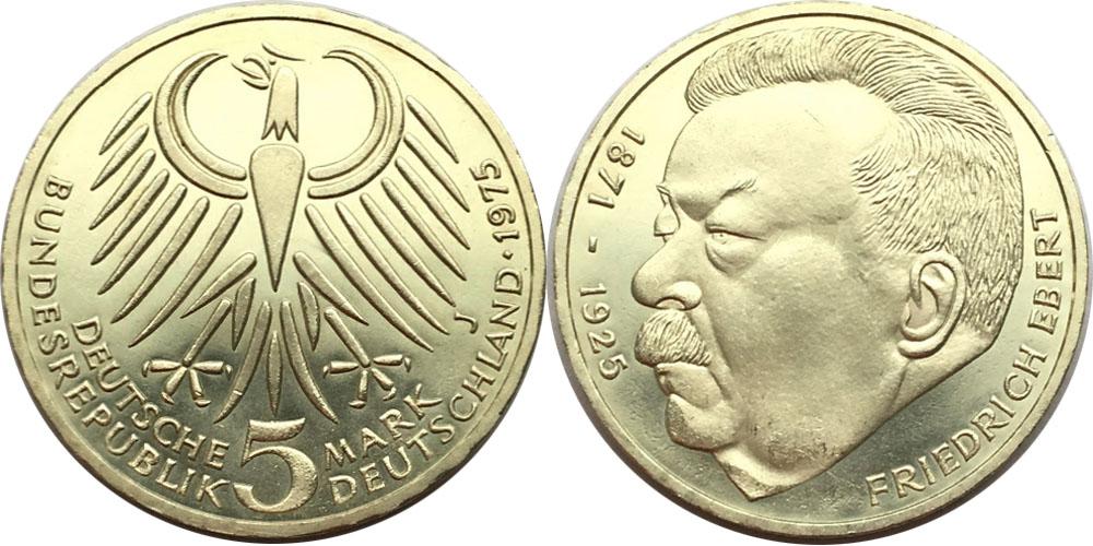 5 марок 1975 «J» ФРГ — 50 лет со дня смерти Фридриха Эберта — серебро