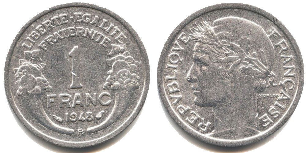 1 франк 1948 Франция — В