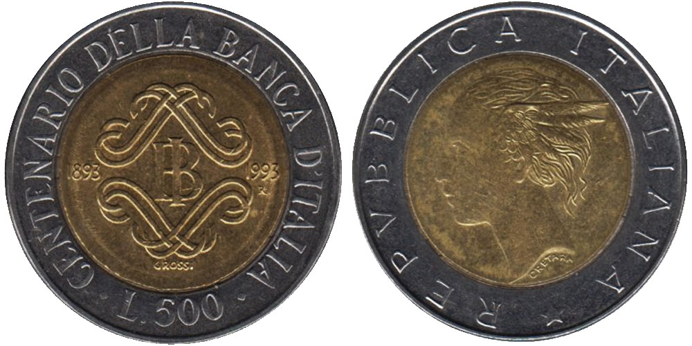 500 лир 1993 Италия — 100 лет Банку Италии