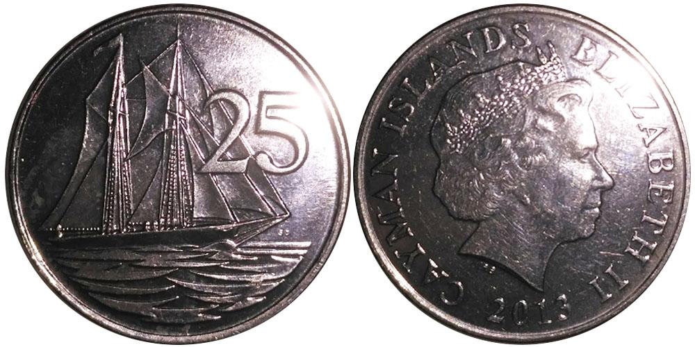 25 центов 2013 Каймановы острова UNC