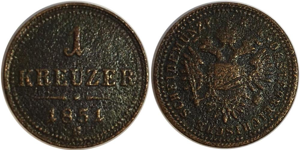1 крейцер 1851 Австрия — В