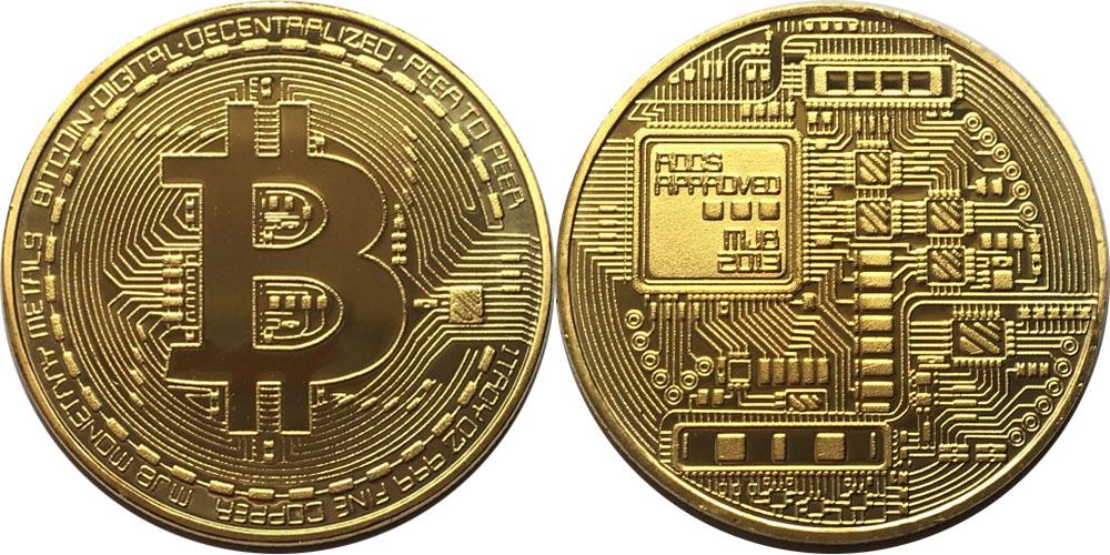 Сувенирная монета Биткоин — Bitcoin 2013 в капсуле — латунного цвета